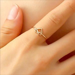 Jewelry - Heart knot open adjustable gold plated ring